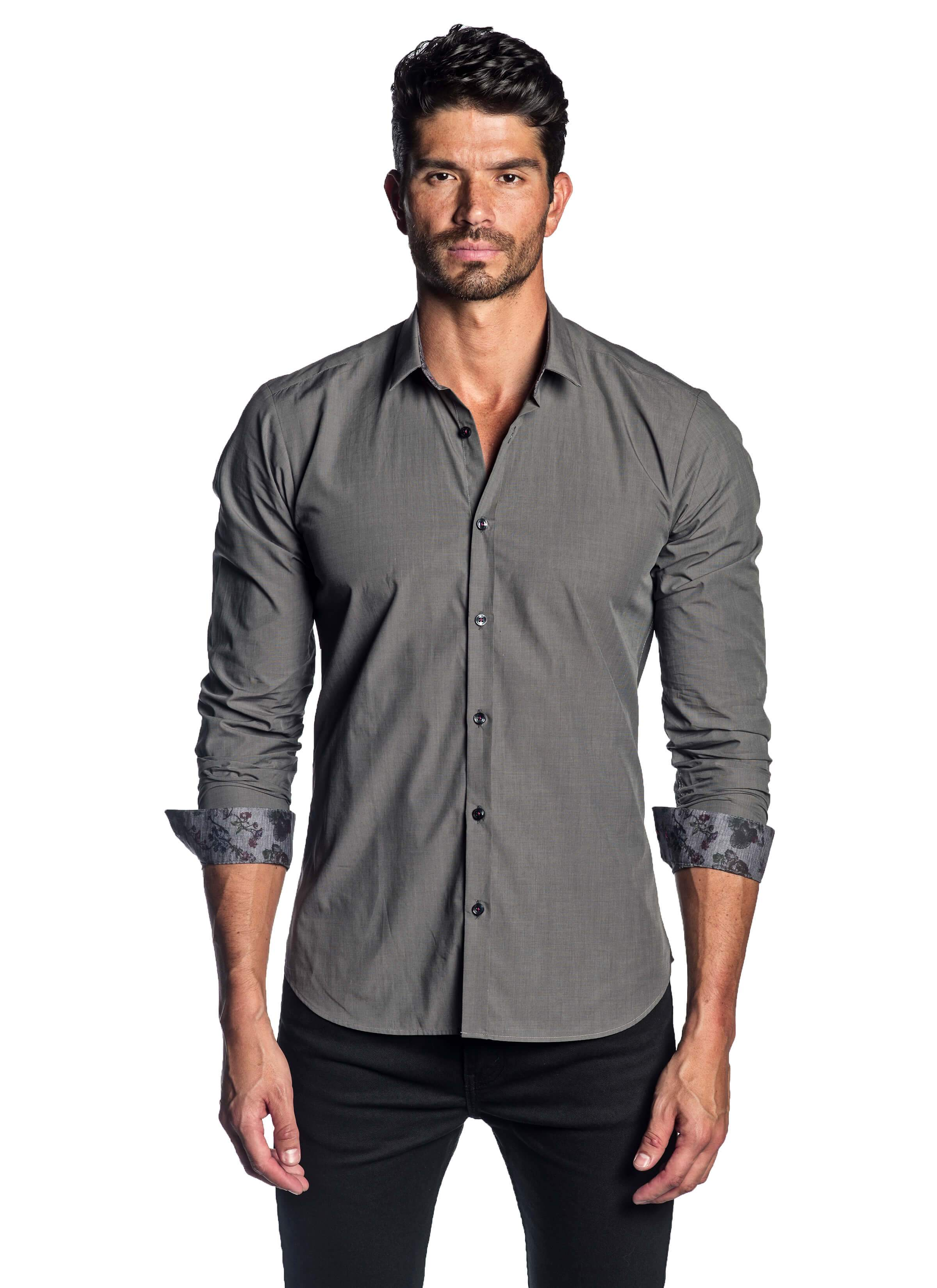 Men's Charcoal Solid Shirt with Floral Trim AH-T-2011