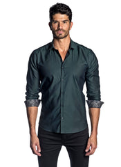 Men's Forest Green Solid Shirt with Floral Trim AH-T-2012