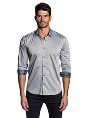 Men's Light Grey Solid Shirt with Floral Trim AH-T-2013