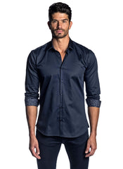Dark Navy Solid Satin Shirt AH-T-2030