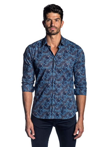 Navy Blue Whale Printed Shirt for Men AH-T-2040