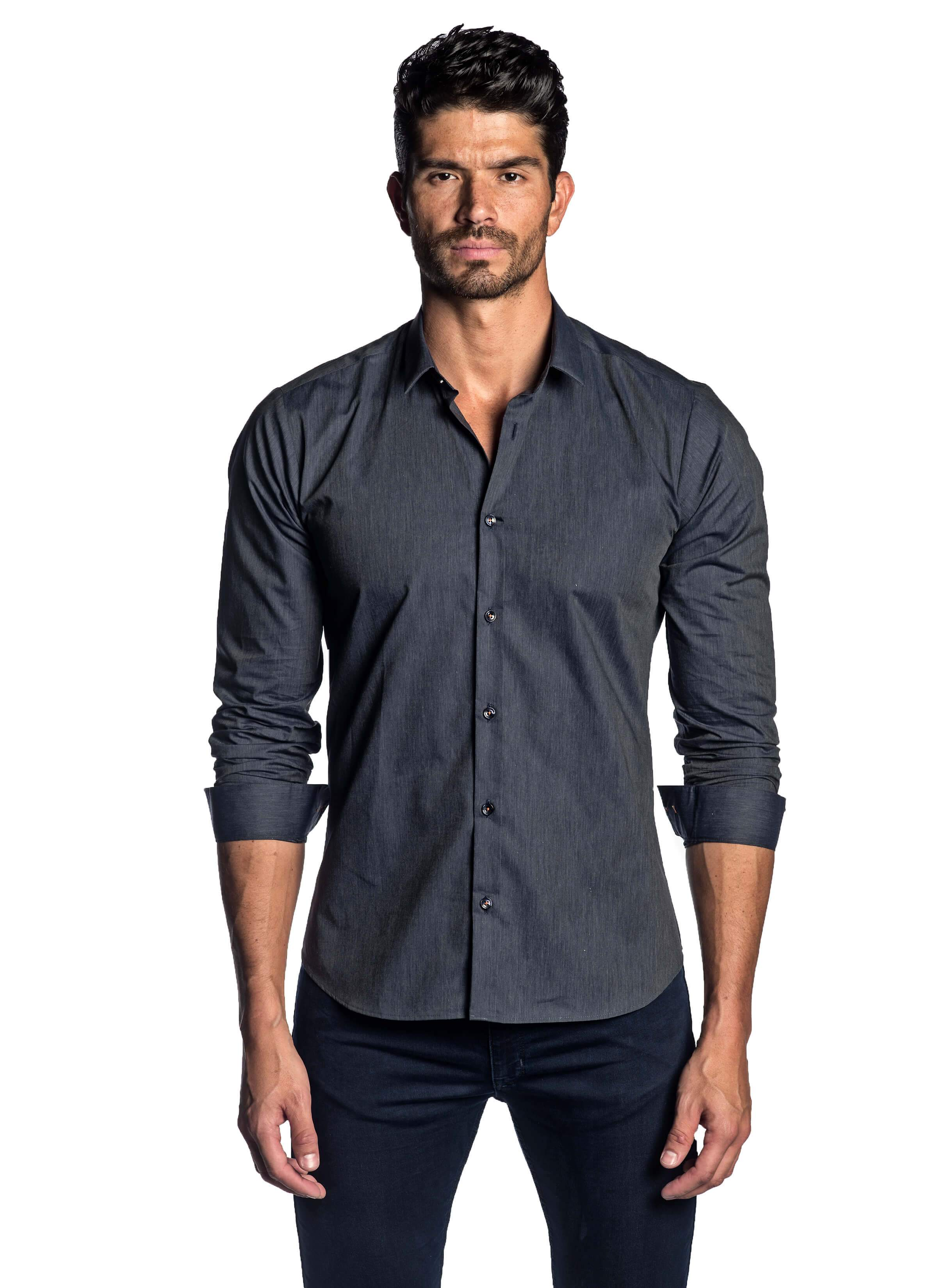 Dark Blue Chambre Solid Shirt for Men AH-T-2043