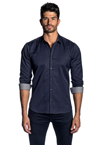 Men's Navy Solid Shirt with Check Trim AH-T-2044