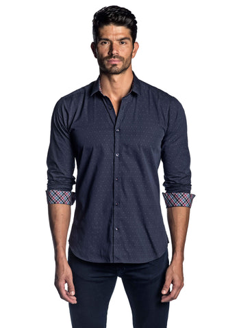 Navy Jacquard Pinpoint Shirt for Men AH-T-2050