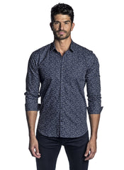 Dark Blue and White Micro Print Shirt for Men AH-T-2064