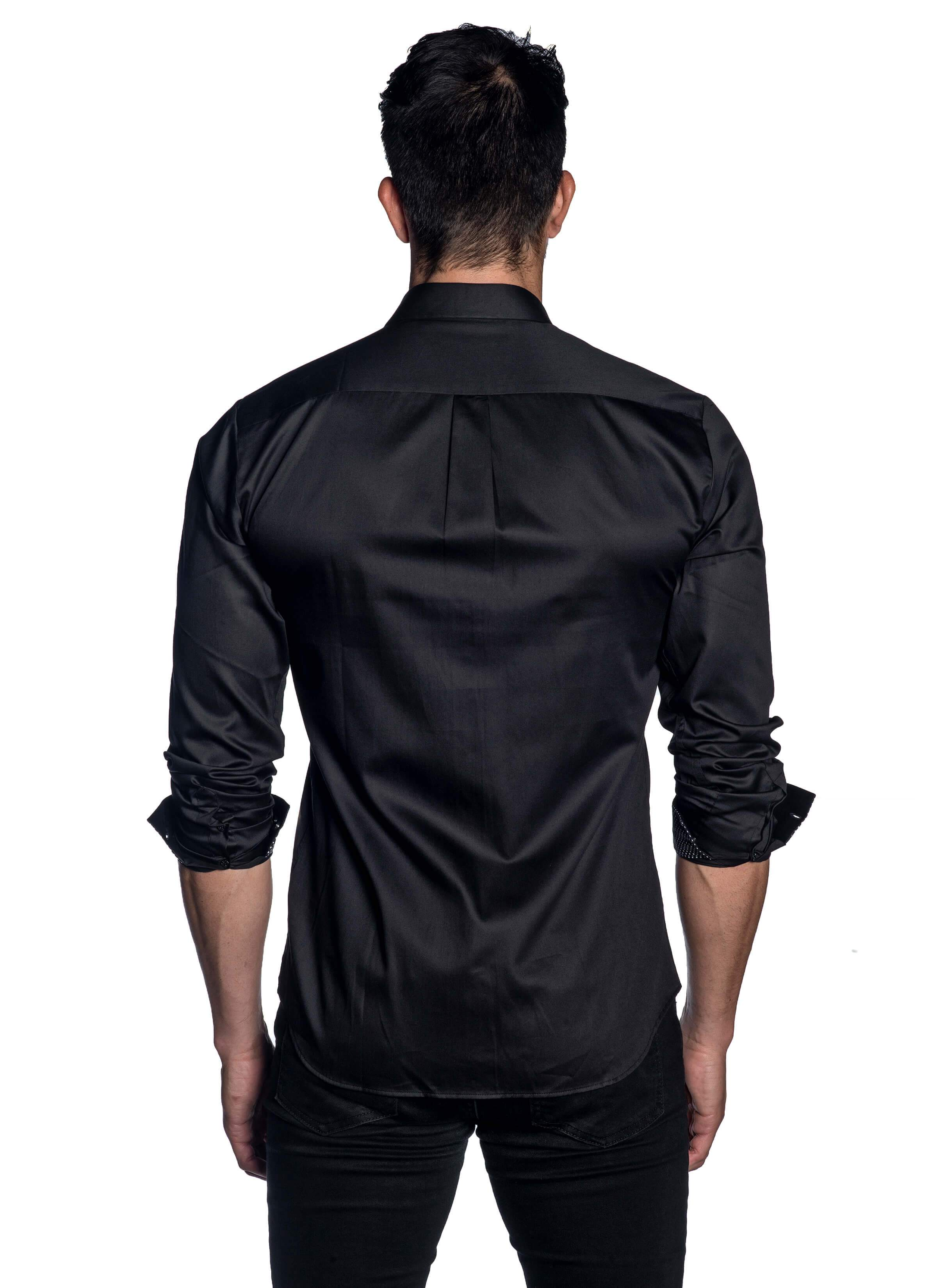 Black Shirt with Polka Dot Trim for Men AH-T-2072