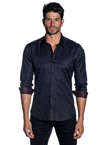 Black Jacquard Zigzag Shirt for Men AH-T-7025