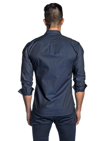 Navy Pinpoint Jacquard Shirt for Men AH-T-7035