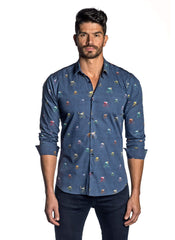 Navy Animal and Bicycle Printed Shirt for Men AH-T-7037