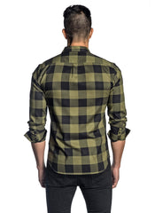 Army Green and Black Plaid Shirt for Men AH-T-7812