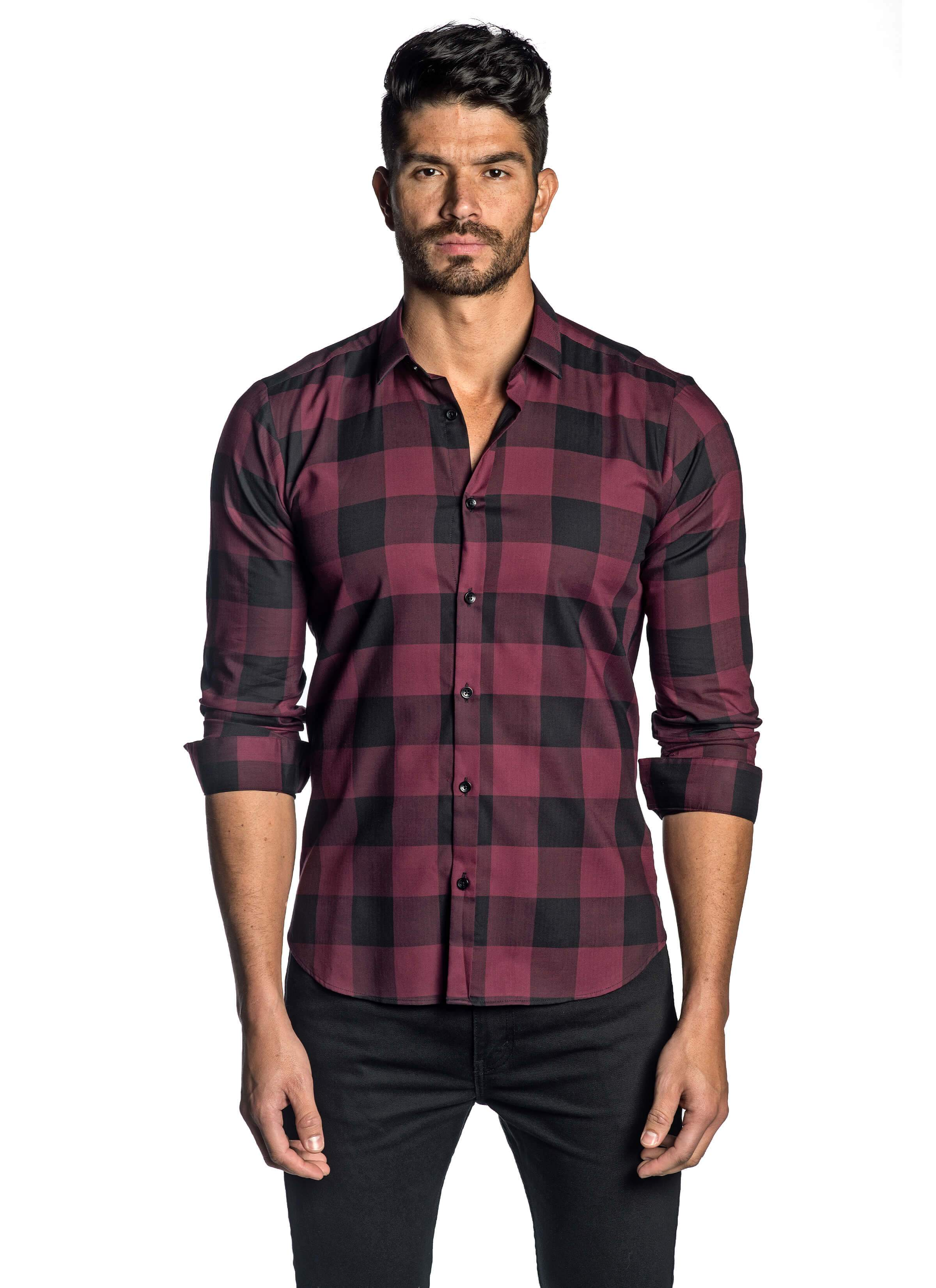 Burgundy and Black Plaid Shirt for Men AH-T-7813