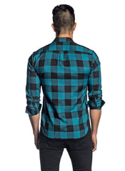 Teal and Black Plaid Shirt for Men AH-T-7816