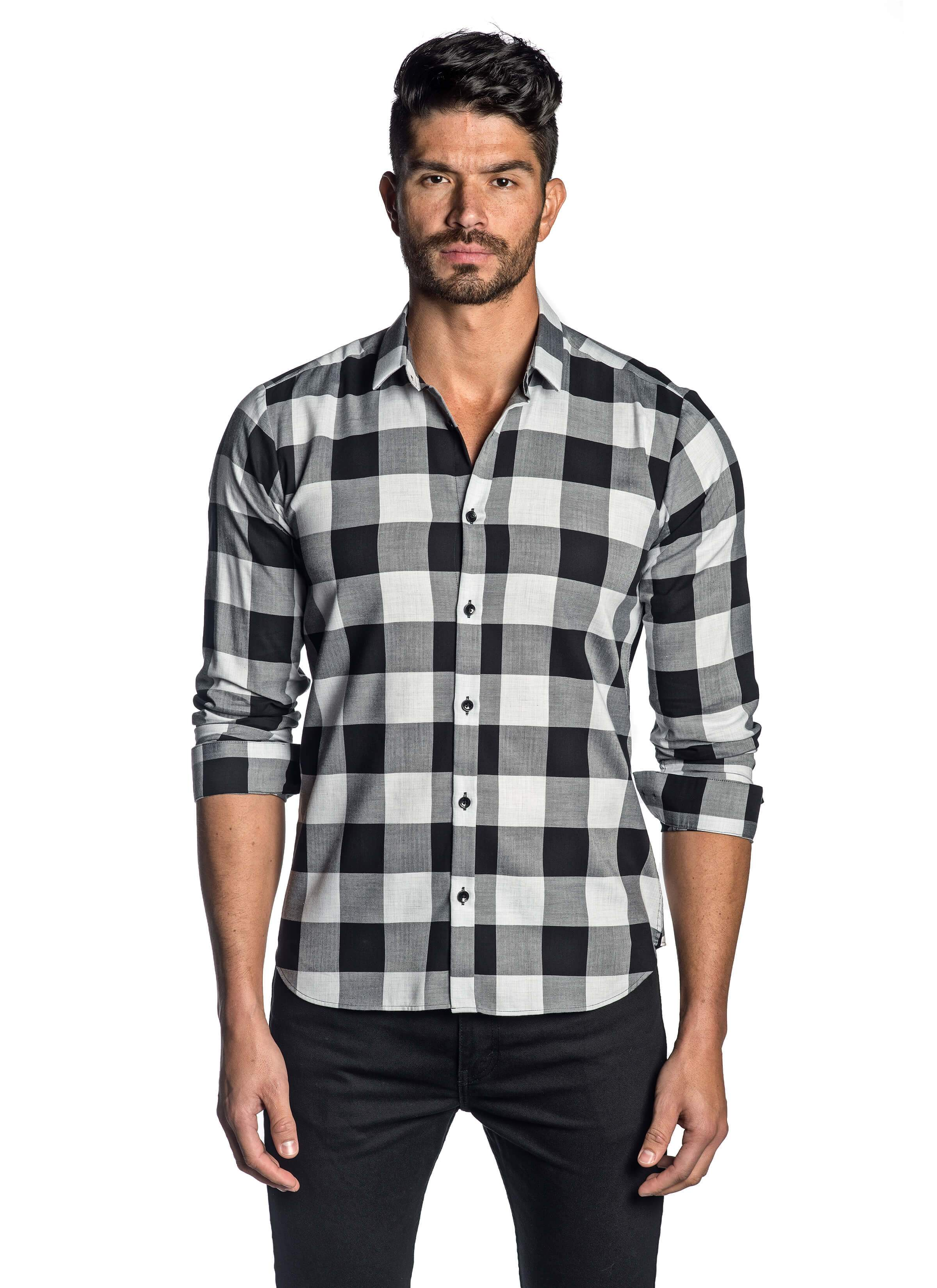 Grey Black Check Shirt for Men AH-T-8095