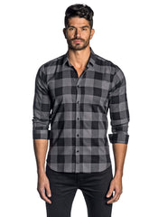 Dark Grey Black Check Shirt for Men AH-T-8096