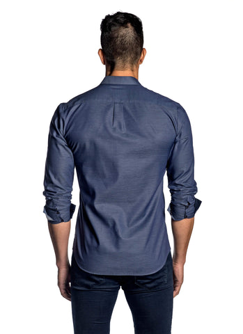 Navy Pinpoint Jacquard Shirt for Men AH-T-ITA-2089