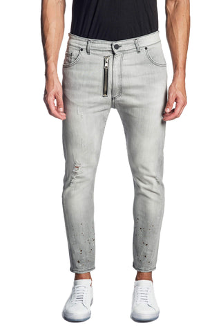 Grey Skinny Ripped Denim Jeans for Men JN-811