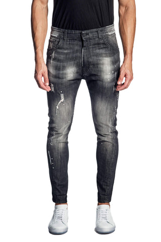 Black Skinny Washed Denim Jeans for Men JN-609