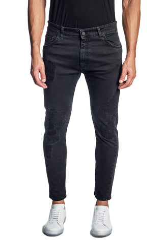 Black Skinny Ripped Denim Jeans for Men JN-799
