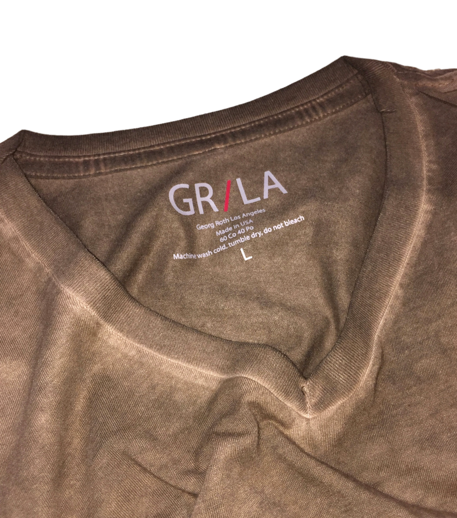 GRLA-V-8025-Coffee-Short-Sleeves-dyed washed-T-Shirt,TEE SHIRT,GEORG ROTH, | GentRow.com