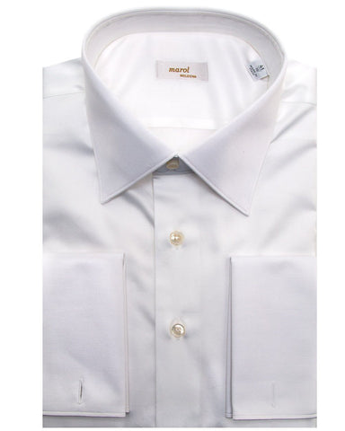 MAROL Solid White French Cuff Dress Shirt
