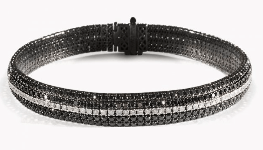 Gold William Bracelet in Black and White Diamonds and 18K Black Gold,BRACELET,TATEOSSIAN, | GentRow.com
