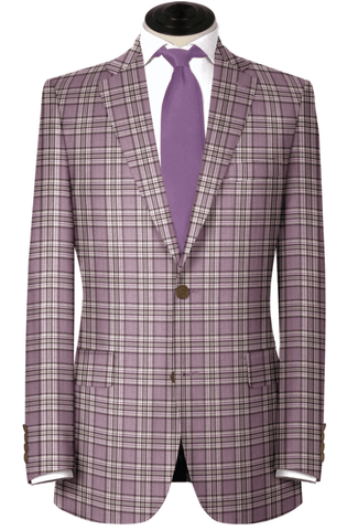 Lavander with Plum and Light Grey Plaid, Wool & Silk Blend