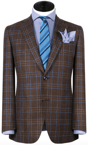Brown With Orange Windowpane Sport Coat