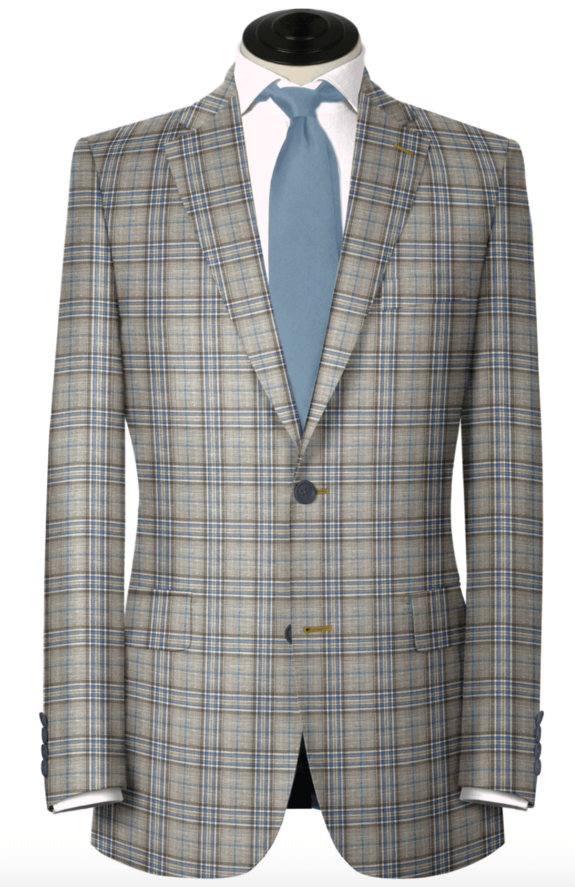 Blue & Tan Wool/Linen Blend Sport Coat,SPORT COATS,Gent Row, | GentRow.com