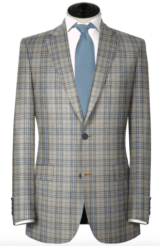 Blue & Tan Wool/Linen Blend Sport Coat