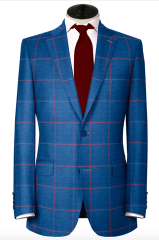 Blue with Red Windowpane Sport Coat
