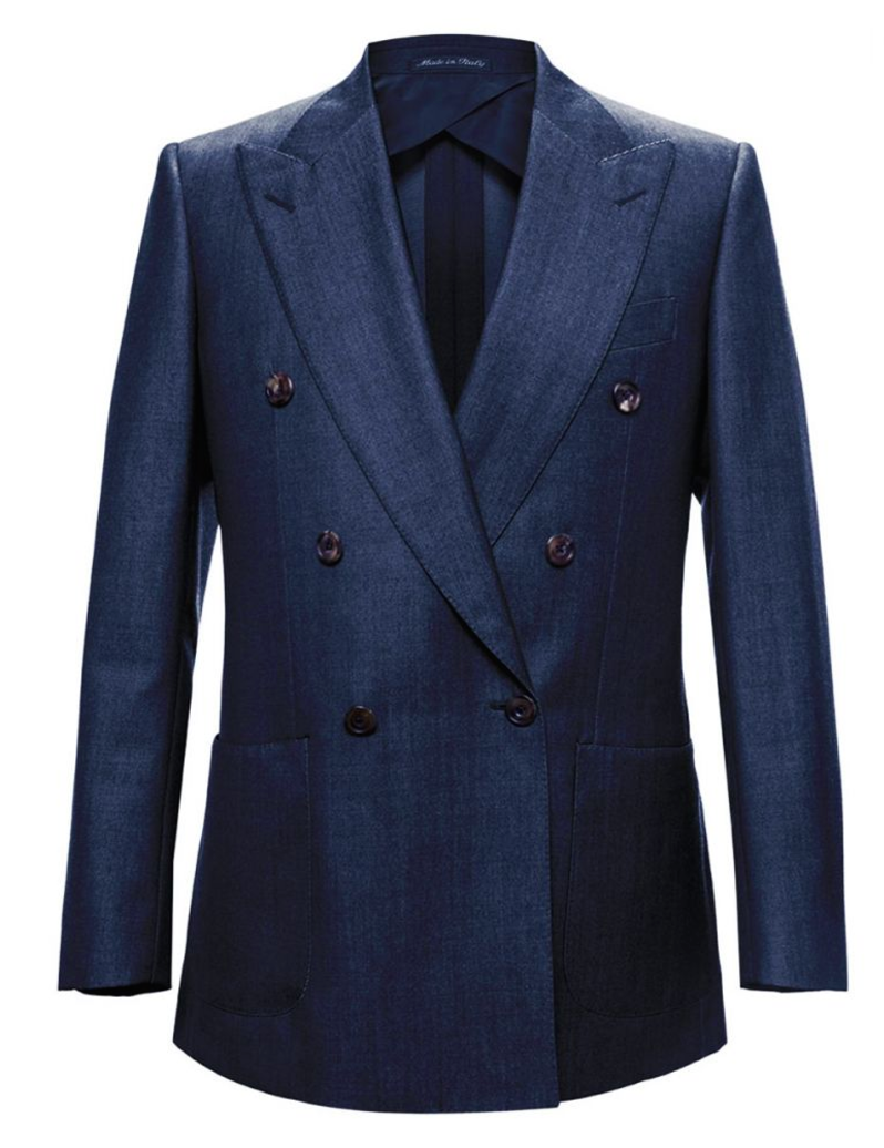 Navy Wide Peak Lapel - Double Breasted Blazer,SPORT COATS,Gent Row, | GentRow.com
