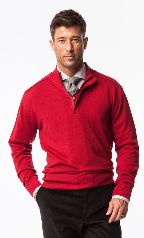 Berry Merino Wool 1/4 Zip Sweater