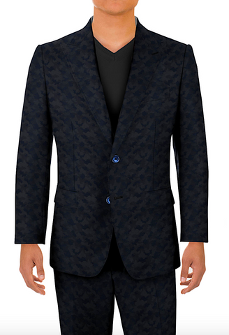 Gent Row - Blue Cammo Cocktail Formal Suit