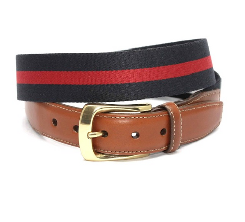European Ribbed Striped Surcingle Belt - Navy/Red
