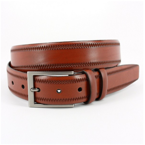 Embossed Pinked Edge Italian Kipskin Belt - Walnut