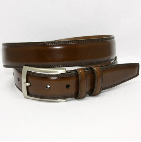 Hand Stained Italian Kipskin Belt - Brown