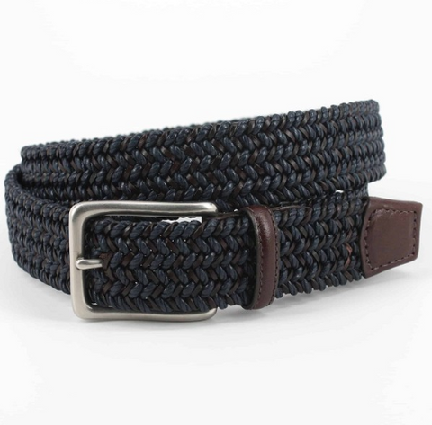 Italian Woven Cotton & Leather Belt - Navy/Brown