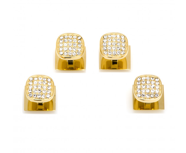 GOLD STAINLESS STEEL WHITE PAVE CRYSTAL STUD SET,CUFFLINKS,CUFFLINKS, | GentRow.com
