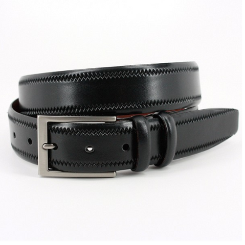 Embossed Pinked Edge Italian Kipskin Belt - Black