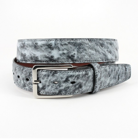 Genuine South African Ostrich Belt - Antiqued Grey