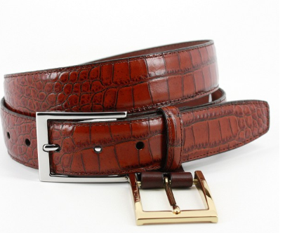 Alligator Grain Embossed Calfskin Belt Cognac