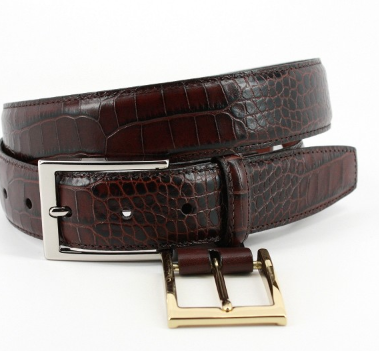 Alligator Grain Embossed Calfskin Belt Brown
