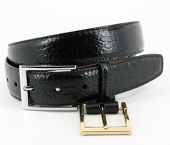 Alligator Grain Embossed Calfskin Belt Black