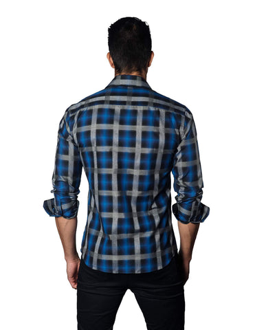 Navy and Blue Plaid Shirt for Men T-3061