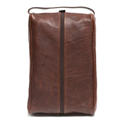 Stephon Shoe Bag in Titan Milled Brown Leather,BAGS,GentRow.com, | GentRow.com