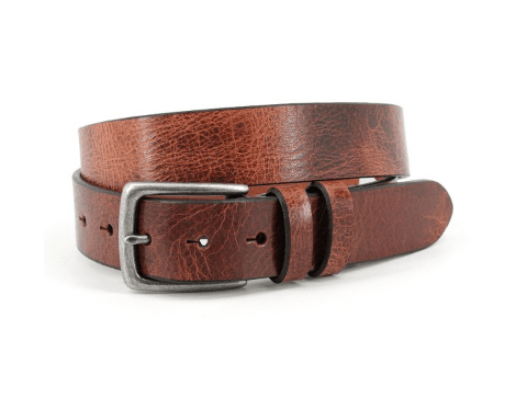 Antiqued Polished Harness Leather Belt - Honey