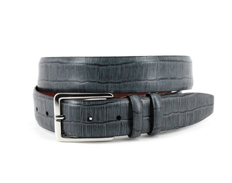 Gator Tail Embossed Brushed Calfskin Belt - Grey