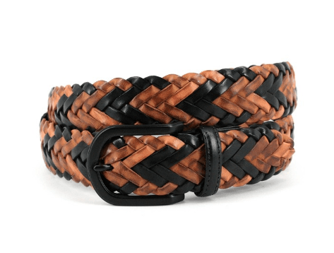 Spanish Multi - Colored Braided Harness Leather - Tan/Brown/Black Multi