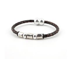 "Braided Leather ""Andiamo"" Bracelet With Sterling Plate Beads - Brown,BRACELET,Gent Row, 