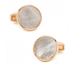 PAISLEY ROSE GOLD AND MOTHER OF PEARL CUFFLINKS,CUFFLINKS,CUFFLINKS, | GentRow.com